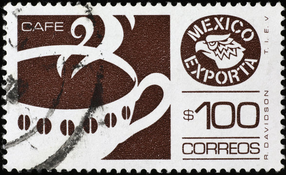 Cup of coffe on mexican postage stamp