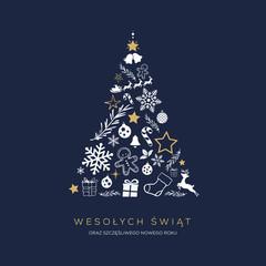 Koncpcja kartki świątecznej z napisem Wesołych Świąt po polsku. Abstrakcyjny kształt choinki ułożony ze świątecznych symboli
