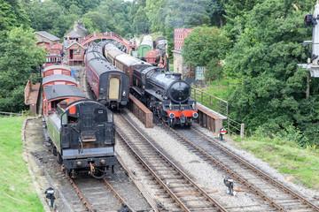 steam engines at grosmont station north yorkshire