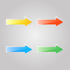 Set of colored glass arrows on a gray background. Vector illustration .