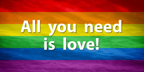 """LGBTQ flag with """"ALL YOU NEED IS LOVE"""" text"""