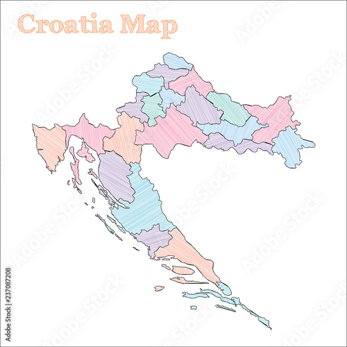 Croatia hand-drawn map. Colourful sketchy country outline ...