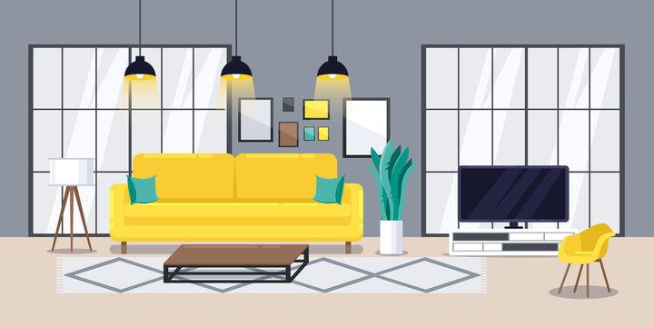 Living room modern interior, vector flat illustration. Cozy apartment design concept.