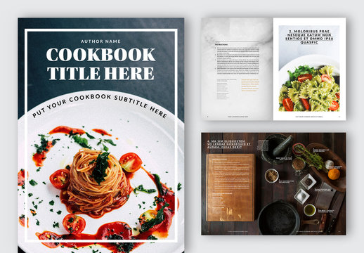 Cook Book Layout with Gold Accents