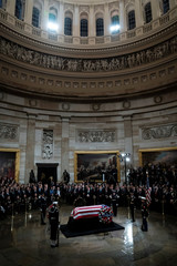 Former President George H.W. Bush lies in State at the U.S. Capitol Rotunda