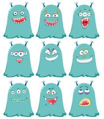 Set of blue cute aliens
