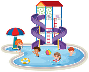 Children at a waterpark