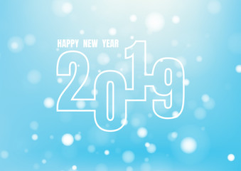 Happy new year 2019 on blue background for celebration, party, and new year event. Vector illustration