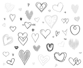 Hand drawn multicolored hearts on white background. Set of love signs. Unique illustration for design. Black and white illustration for banners, flyers or posters