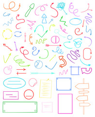 Abstract circles, arrows and rectangles. Multicolored infographic elements isolated on white. Set of different indicator signs. Hand drawn simple objects. Right and left direction pointers