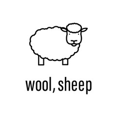 wool, sheep icon. Element of raw material with description icon for mobile concept and web apps. Outline wool, sheep icon can be used for web and mobile