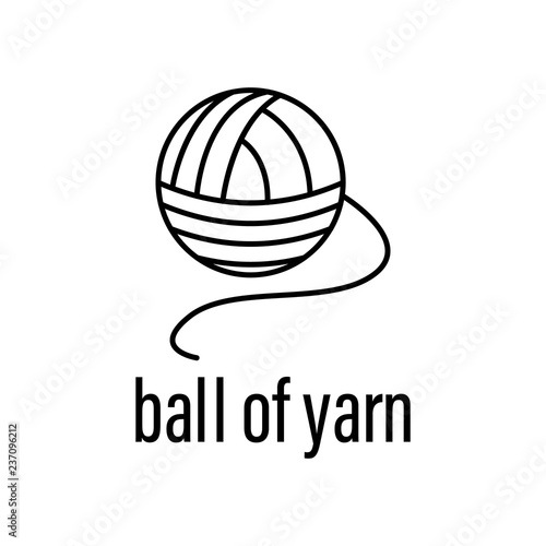 ball of yarn icon  Element of raw material with description