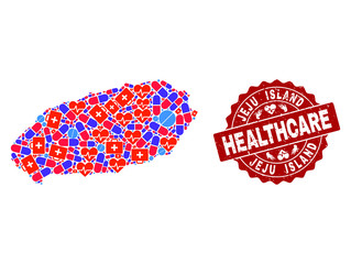 Healthcare combination of bright medical mosaic map of Korean Jeju Island and dirty seal. Vector red seal with scratched rubber texture and Healthcare caption.