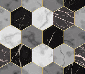 Marble Luxury Chaotic from Hexagons Seamless Pattern