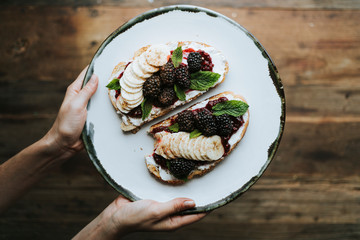 Toast with blackberry jam and vegan cream cheese