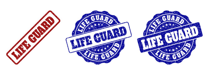 7a4f392cd9e8 LIFE GUARD grunge stamp seals in red and blue colors. Vector LIFE GUARD  labels with