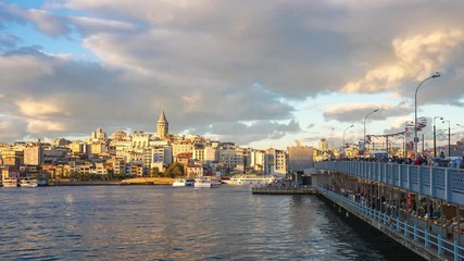 Wall Mural - Istanbul city time lapse, Istanbul cityscape skyline with view of Galata Tower in Istanbul, Turkey timelapse 4K