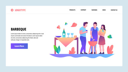 Web site onboarding screens. BBQ party and picnic in a park. Menu vector banner template for website and mobile app development. Modern design linear art flat illustration.