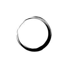 Black Zen Circle Brush Logo, Sign, Icon Vector Design Illustration