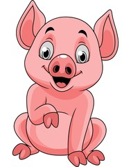 Cartoon happy pig sitting