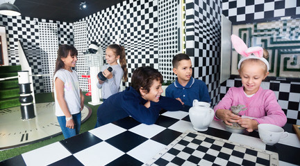 Exciting adventure for kids in chess quest room