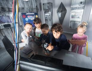 Children playing in bunker questroom