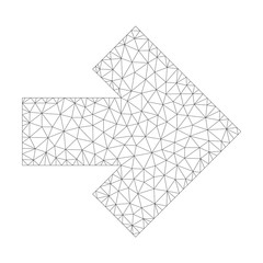 Mesh vector arrow right icon on a white background. Polygonal carcass gray arrow right image in low poly style with connected triangles, dots and linear items.