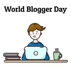 World Blogger Day postcard. Boy with laptop