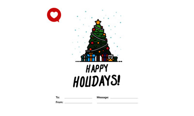 Happy Holidays To From Template Card With Christmas Tree Illustration