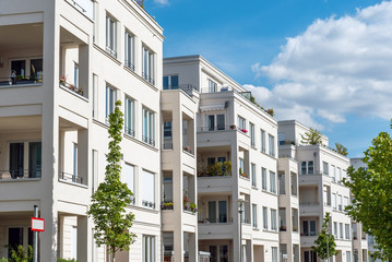 Row of white modern apartment houses seen in Berlin, Germany Wall mural