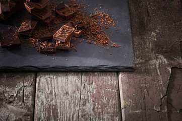 chocolate on old wooden table