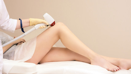 Hair remove laser treatment. Medical removal machine