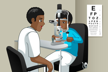 Optometrist Checking on a Kid Eyes Illustration