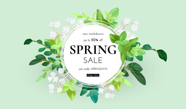 Floral spring design with white flowers, green leaves, eucaliptus and succulents. Round shape with space for text. Banner or flyer sale template, vector illustration.