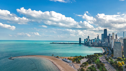 Fototapete - Chicago skyline aerial drone view from above, lake Michigan and city of Chicago downtown skyscrapers cityscape, Illinois, USA