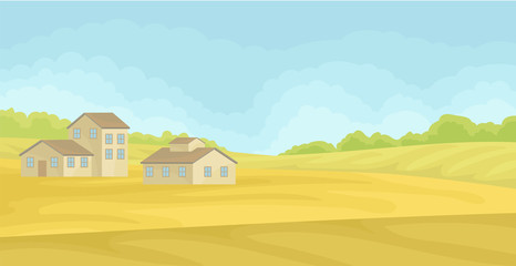 Summer rural landscape with village houses, field with green grass, agriculture and farming concept vector Illustration on a white background