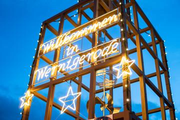 Leuchtschrift Herzlich Willkommen in Wernigerode