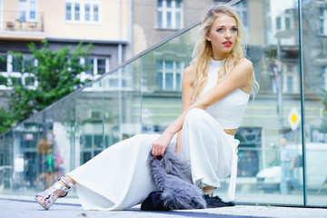 Woman wearing crop top and culottes
