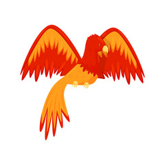 Flaming Phoenix bird mythical creature, fairy tale character from Slavic folklore vector Illustration
