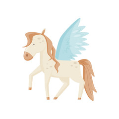 Pegasus winged horse, mythical creature vector Illustration on a white background