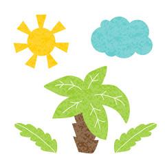 Palm tree,sun,cloud. Vector illustration.