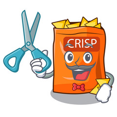 Barber snack food sticks chisp on cartoon