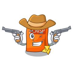 Cowboy snack food sticks chisp on cartoon