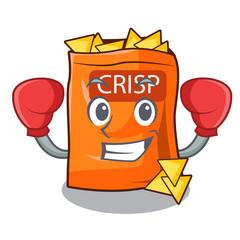 Boxing snack food sticks chisp on cartoon