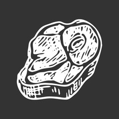 Hand drawn meat doodle. Sketch food and drink, icon. Decoration element. Isolated on black background. Vector illustration