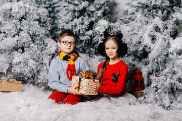 Brother and sister are holding a Christmas present