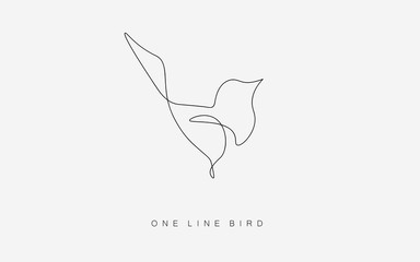 Birds flying vector one line drawing isolated on the white background. Logo or icon modern bird concept. Vector illustration. Fototapete