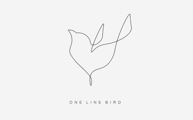 Birds flying vector one line drawing isolated on the white background. Logo or icon modern bird concept. Vector illustration.