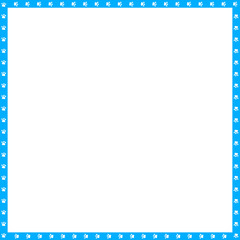 Vector cyan blue and white square frame made of animal paw prints copy space
