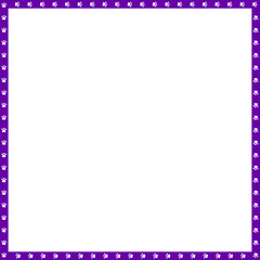 Vector purple and white square frame made of animal paw prints copy space